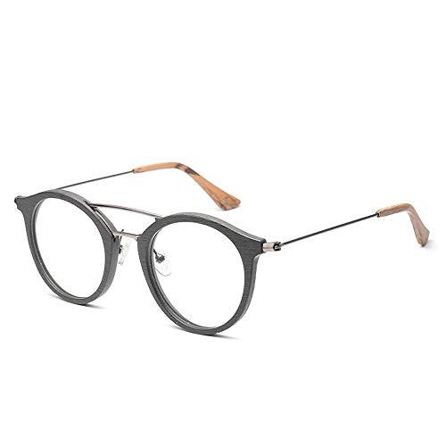 Brillengestell für männer und frauen mode klassische vintage runde holzmaserung brillengestell Sunglasses LPLHJD (Color : 03Gray, Size : Kostenlos)