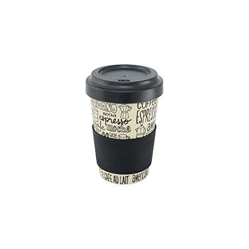 Une 'domo Pv-bam-6280 Point-Virgule Mug de voyage avec couvercle et bande antidérapante Café, 500 ml, fibre de bambou, Blanc cassé