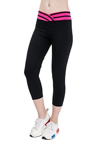 womens-yoga-pants-cotton-sports-workout-leggings-active-running-capris-contrast-color-wide-waist-ban