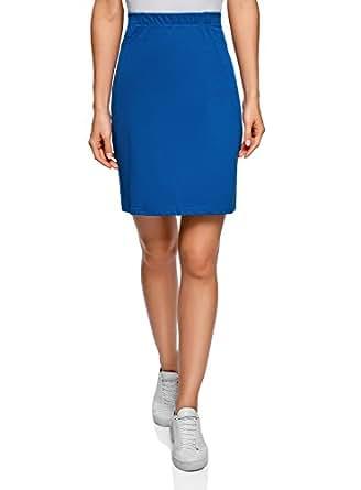 oodji Collection Damen Jersey-Bleistiftrock, Blau, DE 34 / EU 36 / XS
