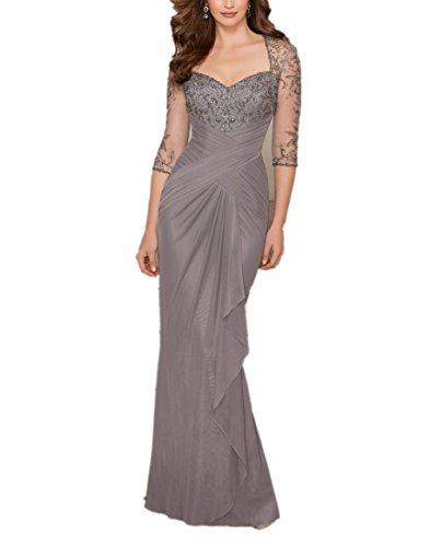 Charmant Damen Grau Langes Abendkleider Ballkleider Brautmutterkleider mit Langarm Pailletten Festlich Kleider Grau