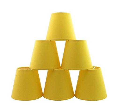 Lot de 6 Pièces Abats-jour de Lampe en Tissu pour Lustre de Bougeoir (jaune)