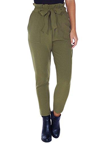 Simplee Apparel Damen Hosen Elegant High Waist Stretch Chiffon Skinny Hosen Pants Casual Streetwear Hosen mit Tunnelzug- Gr. 34 / S, Grün (Damen Grüne Hose)