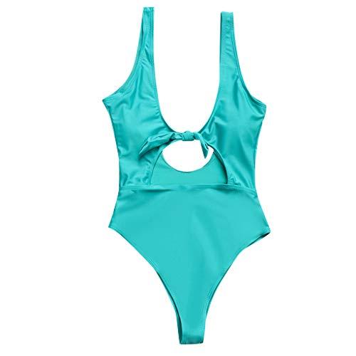 HOT1950s Damen 1 Stück Umzug-Bikini Set Sexy Badeanzug Strand Badeanzug Bodysuits Neckholder Hot Bottom Tankini Set Push Up Bikini Sets Monokini Badeanzug Bademode Gr. S, grün - Low-rise-brasilianischen Stretch-hose