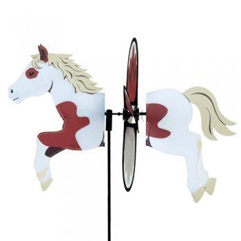 girouette cheval marron et blanc - décoration extérieure girouette cheval - moulin à vent de jardin, terrasse, balcon - dimension : 48x34cm - diamètre des ailes : 32cm