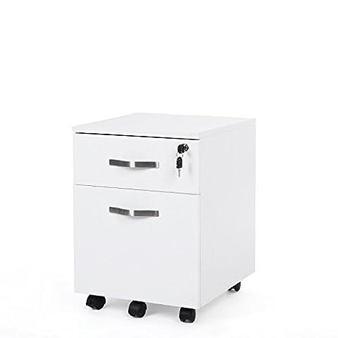 Songmics Abschließbar Rollcontainer Büroschrank mit 2 Schubladen 5 Rollen unten schreibtisch Büromöbel weiß 44 x 40 x 54,5 cm LCD22W