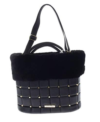 Cafènoir borsa a mano donna bc011 nero/bordeaux con bordo in eco-pelliccia (nero)