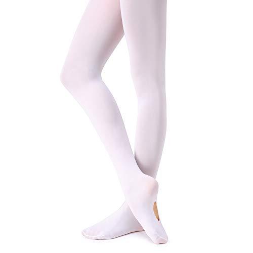 Soudittur Kinder Ballett Strumpfhose Convertible Tanz-Strumpfhosen mit Fersenloch 90D für Mädchen und Damen Weiß -
