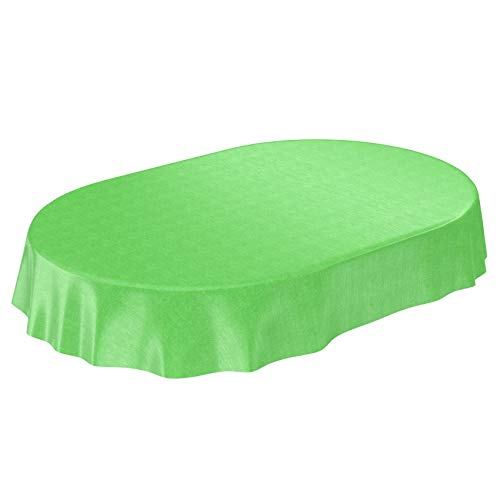 ANRO Wachstuchtischdecke Wachstuch Wachstischdecke Tischdecke abwaschbar Grün Leinenoptik Textiloptik Oval 180 x 140cm, 140 x 180cm