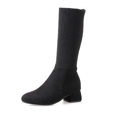RTRY Scarpe Donna Knit Nabuck Pelle Similpelle Autunno Inverno Stivali Moda Slouch Stivali Stivali Tacco Chunky Round Toe Stivali Mid-Calf Split US8 / EU39 / UK6 / CN39