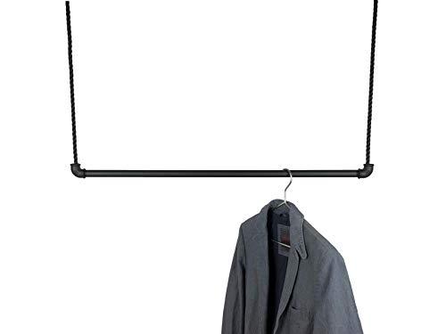 Hängegarderobe Schwarz Metall 50, 80 oder 100cm inkl 5m Seil, Kleiderstange für Kleiderbügel, Kleiderständer Industrial Design, Garderobe für Ankleide Büro -