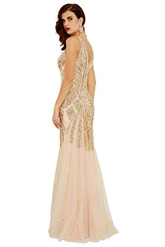 Ivydressing Damen Hochwertig Steine V-Ausschnitt Rueckenfrei Abendkleid Promkleid Chiffon&Tuell Lang Festkleid Stil-A