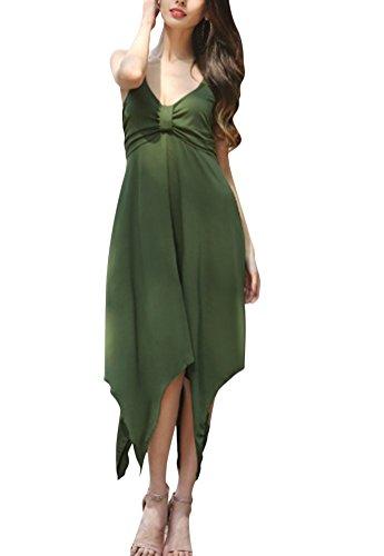 Brinny femme robe plage robe asymétrique lâche couleur unie robe à bretelles Vert