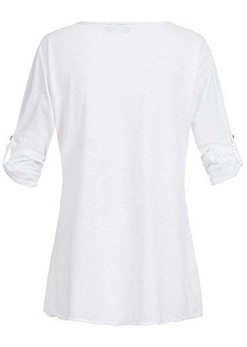 Violet Fashion Damen Shirt Krempelarm mit Federn Artwork, weiß bunt weiß bunt