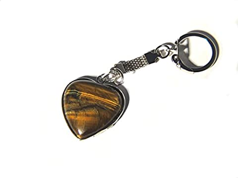 silver surrounded tigers eye heart natural stone lucky Keyring, key