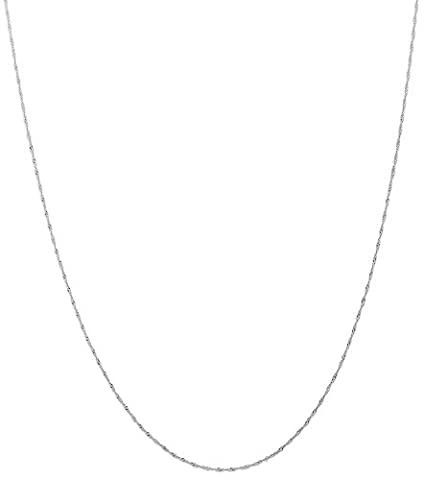 IceCarats 14k White Gold 1mm Link Singapore Chain Necklace Carded 18 Inch