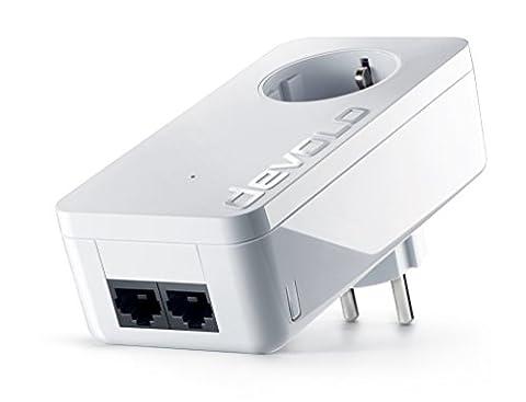devolo dLAN 550 duo+ Powerlan Adapter (500 Mbit/s, 2x LAN Port, Kompaktgehäuse, Netzwerk, Powerline, einfaches LAN Netzwerk aus der Steckdose) weiß