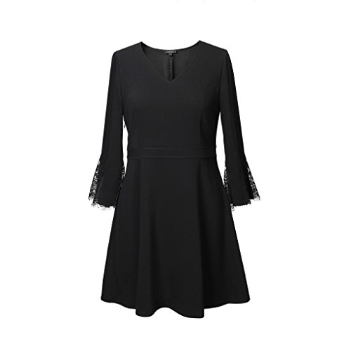 JIN PING® Abito, grasso mm grasso piccolo ventre nascosto vestito tibetano elegante gonna nera un tratto elastico sottile ( Colore : Nero , dimensioni : 5XL ) Nero
