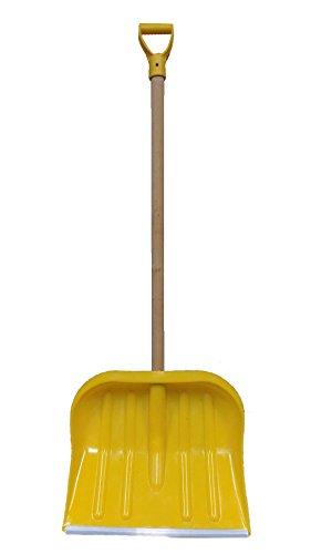 2x BBT@ Hand Schneeschieber Gelb / Extra breite 49 cm / Mit 104 cm Holzstiel und robuster Alu-Profilkante / Ergonomischer D-Griff / Besonders leicht / Gesamtlänge 140 cm / Schneeschaufel Schneeschild Schnee Räumschaufel