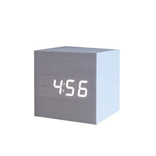 Karidesh Hölzerner elektrischer Wecker der Uhr-LED mit USB-Stromversorgung für Schlafzimmer-Büro-Haus (Color : White Cover White Light) (Schlafzimmer Für Elektrischer Wecker)