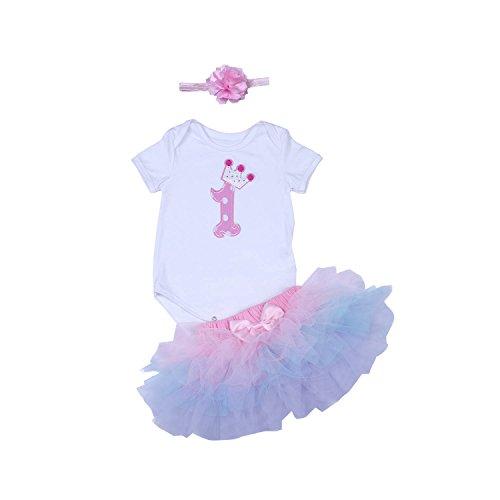 BabyPreg Baby Mädchen 1. Geburtstag Tutu mit Stirnband Set (L/9-12 Monate, Púrpura Rosa) (Geburtstag Ersten Kleid)