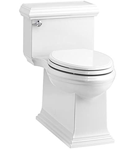 KOHLER K-6424-0 Memoirs Classic Comfort Height Skirted One-Piece Compact Elongated 1.28 GPF Toilet with AquaPiston Flush Technology and Left-Hand Trip Lever, White