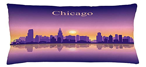 Chicago Skyline Throw Pillow Cushion Cover, Sunset in Illinois American Horizon Behind High City Silhouettes, Decorative Square Accent Pillow Case, 18 X 18 Inches, Purple Apricot Pink -