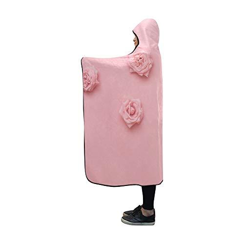 JOCHUAN Hooded Blanket Verschiedene Rosenköpfe auf Pastell-Decke 60x50 Zoll Comfotable Mit Kapuze Wurfspackung Collage Fleece