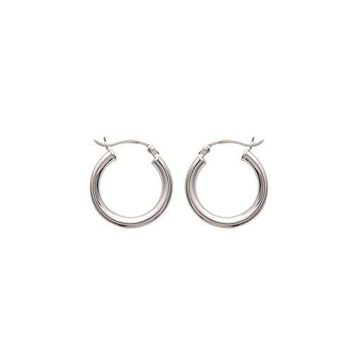 Creolen Silber-Durchmesser: 20 mm, Breite: 20 mm-Silber 925/1000 rhodiniert (Creolen/Kreis)