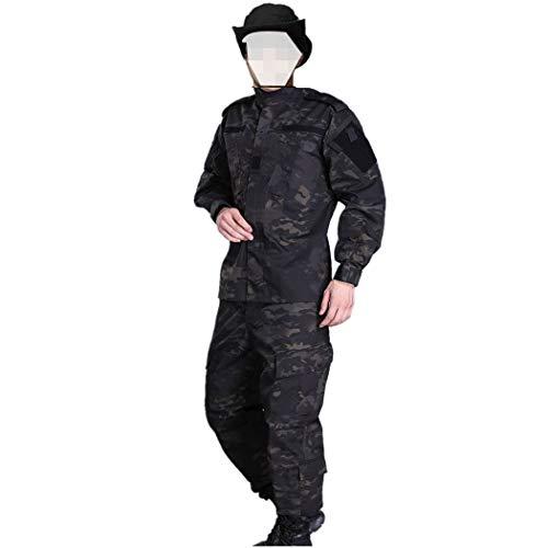 COSYJIA Airsoft Shirt & Hose Anzug, Herren Camouflage Camo Combat BDU Jacke Shirt & Hose Uniform Multi-Tasche mit Gürtel für Kriegsspiel Army Military Paintball Airsoft Jagdschießen(MCBK)