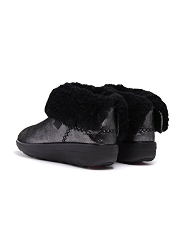 FitFlop Supercush Mukloaff Tm Shimmer, Stivaletti Donna Nero (Black Shimmersuede)