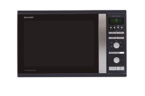 SHARP R941BKW Mikrowelle / 1050 W / 40 L / Inverter Technologie / 1450 W Heißluft, 40 - 250 Grad / Schwarz