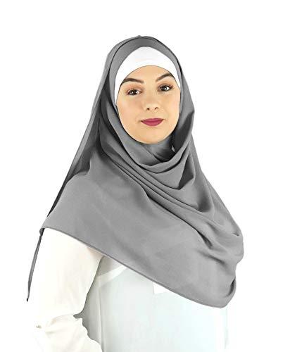 SAFIYA - Hijab Kopftuch zum schnellen überziehen für Frauen I Islamische fertig gebunden Kopfbedeckung Halstuch Haartuch I Damen Gesichtsschleier, Schal, Turban I Musselin/Chiffon - Hellgrau