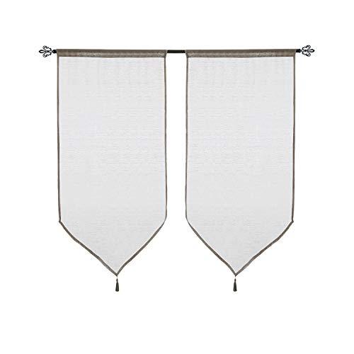 Deconovo Visillos Cortina Voile para Habitación con Acabado Triangular con Borlas 2 Paneles 60 x 90 cm Gris Topo
