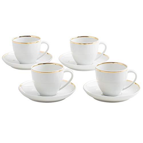 Kahla 550261A30021C Line of Gold Magic Grip Tassenset Espressotassen Set für 4 Personen Mokkatassen 4 Stück 8-teilig rund weiß Echtgold goldrand handgemacht