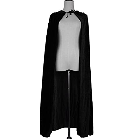 Sharplace Cape à Capuche en Velour Costume Fantaisie Longueur 150cm - Noir