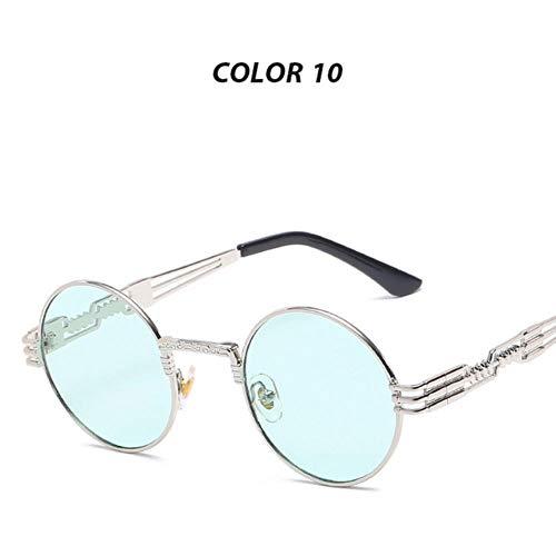 Loving Bird Liebevoller Vogel Unisex Steampunk Brille Männer Schwarz Runde Steampunk Sonnenbrille Frauen Retro Markendesigner Gothic Spiegel Gläser UV400 Oculos, Farbe 10