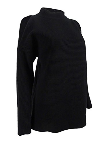 Alfani Womens Cold Shoulder Mock Neck Pullover Sweater Black M Alfani Mock Neck