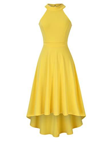 Clearlove Damen Abendkleid Ärmellos Cocktailkleid Neckholder Brautjungfernkleid Elegant Asymmetrisches Partykleid, Gelb, M - Kleider Damen Gelb