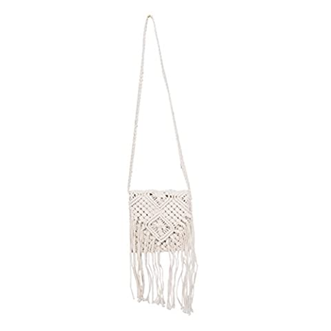 Tinksky Women Fringed Crochet Cross-body Bag Bohemian Summer Beach Shoulder Bag (Beige)