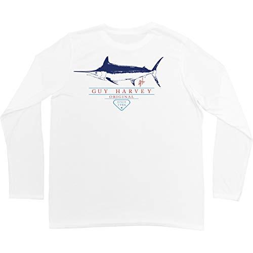 Guy Harvey Herren T-Shirt Hustle L/S Performance - Weiß - Mittel (Guy Harvey-t-shirt)