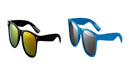 2 er Set Nerd Sonnenbrille Nerd Brille verspiegelt Schwarz + Türkis Silber