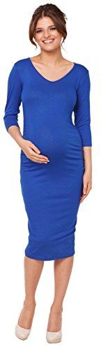 Happy Mama. Femme maternité robe moulante du genou grossesse encolure en V. 811p Bleu Royal