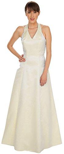 Brautkleid lang Standesamtkleid Hochzeitskleid Creme schlicht Satin große Größen XXL (50, Creme)