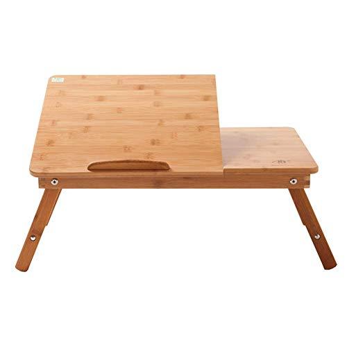 YXLAB Mesa Auxiliar H1 Mesa Portátil, Escritorio Portátil con Cajón, Bambú Plegable De Altura Regulable
