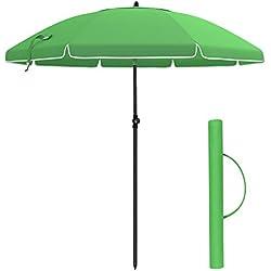 SONGMICS GPU65GN Parapluie de Plage octogonal avec Ouvertures d'aération et Sac de Transport sans Support pour Plage, Jardin, Balcon et Piscine Vert 200 cm