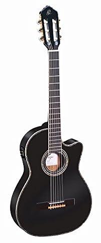 Ortega Guitars RCE145BK Family Series Pro Slim Neck Nylon 6-String Guitar with Spruce Top, Mahogany Body and