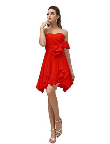 Dresstells, robe courte de demoiselle d'honneur mousseline avec nœud Rouge