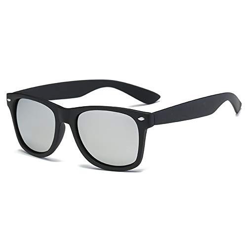 Easy Go Shopping Auto Fahren UV-Schnitt Reifen ermüden weniger Augenoptik Sonnenbrille Schwarze Augenbrauenbrille Sonnenbrillen und Flacher Spiegel (Color : Silber, Size : Kostenlos)
