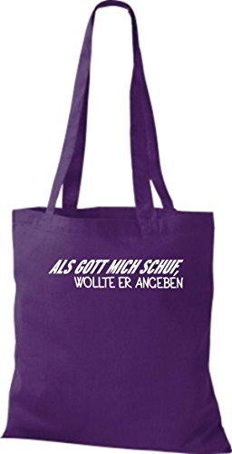 Shirtstown pochette avec inscription humoristique avec inscription als gott mich crée de vouloir indiquer plusieurs couleurs Violet - Violet
